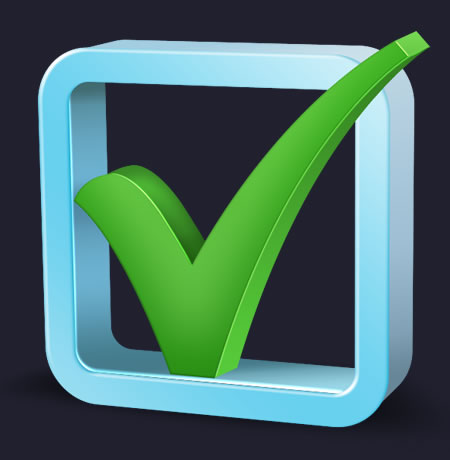 3D Check Mark Icon for Photoshop. Fully re-sizable vector shaped check ...